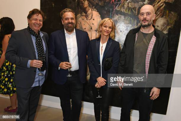 Danny Moynihan Keith Tyson Elisabeth Murdoch and Jake Chapman attend the Private View of 'Centrifugal Soul' by Mat Collishaw at Blain Southern on...