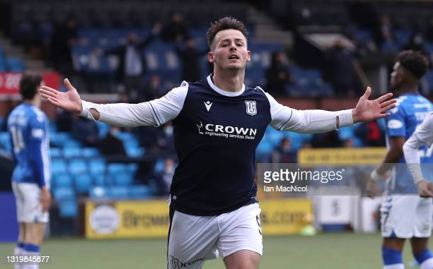 Danny Mullen of Dundee celebrates after scoring the opening goal during the Scottish Premiership Playoff Final 2nd Leg between Kilmarnock and Dundee...