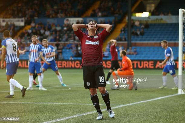 Danny Mullen of St Mirren reacts after his shot at goal was blocked by Jamie MacDonald of Kilmarnock FC during the Betfred Scottish League Cup match...