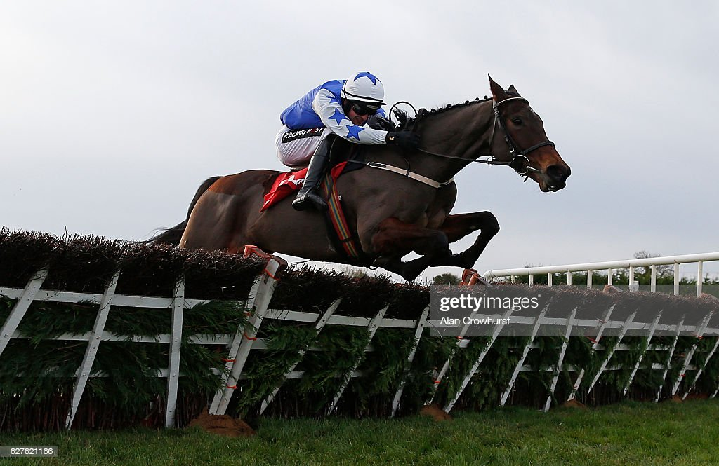 Danny Mullins riding Airlie Beach clear the last to win The Bar Obe Racing Royal Bond Novice Hurdle at Fairyhouse racecourse on December 4, 2016 in Dublin.