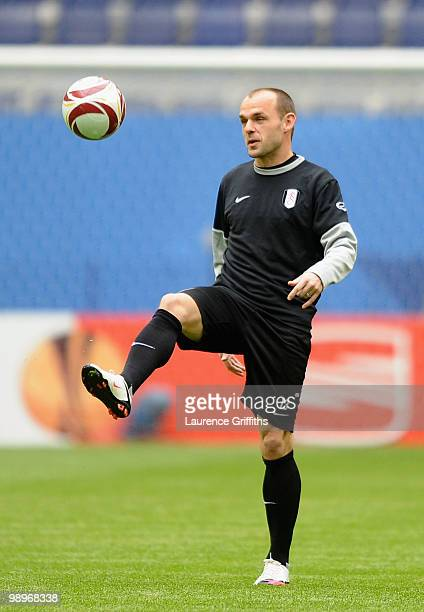 Danny Murphy juggles the ball during the Fulham training session ahead of the UEFA Europa League final match against Atletico Madrid at HSH Nordbank...