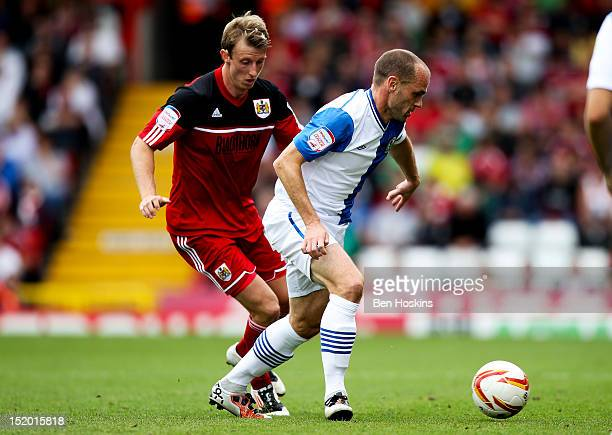 Danny Murphy of Blackburn holds off pressure from Martin Woolford of Bristol during the npower Championship match between Bristol City and Blackburn...
