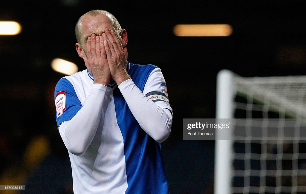 Danny Murphy of Blackburn reacts after missing a goal scoring chance during the npower Championship match between Blackburn Rovers and Bolton Wanderers at Ewood Park on November 28, 2012 in Blackburn, England.