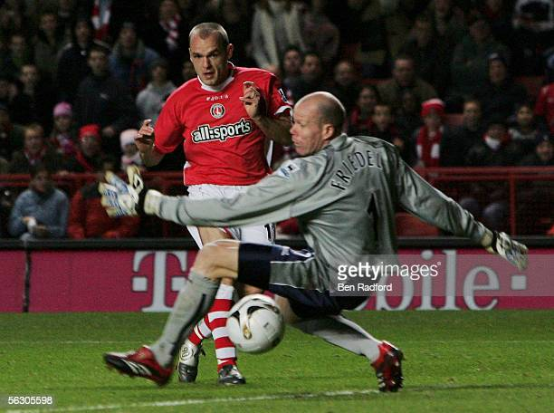Danny Murphy of Charlton Athletic slides the ball past Brad Friedel of Blackburn Rovers to score the first goal during the Carling Cup Fourth Round...
