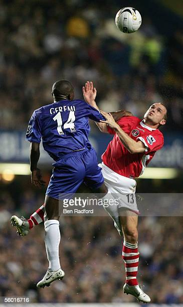 Danny Murphy of Charlton competes for the high ball with Geremi of Chelsea during the Carling Cup Third Round match between Chelsea and Charlton...