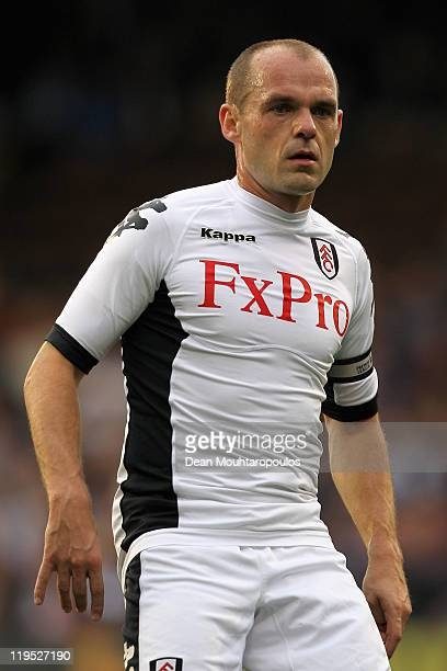 Danny Murphy of Fulham looks onduring the UEFA Europa League 2nd Qualifying Round 2nd Leg match between Fulham and Crusaders at Craven Cottage on...