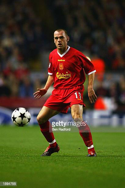 Danny Murphy of Liverpool in action during the UEFA Champions League first phase Group B match between Liverpool and Valencia CF at Anfield, on...