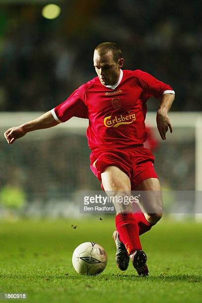 Danny Murphy of Liverpool runs with the ball during the UEFA Cup Quarter Final first leg match between Glasgow Celtic and Liverpool held on March 13,...