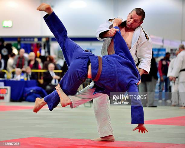 Danny Murphy of the Budokwai Judo Club threw Rene Wolter, also of the Budokwai with a spectacular foot sweep for ippon during the mens Open category...