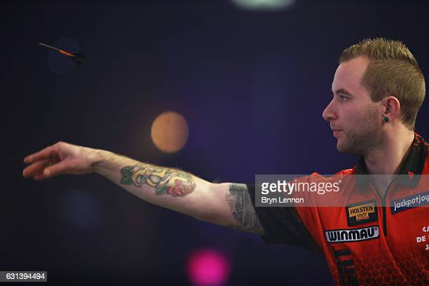 Danny Noppert of Canada in action during his first round match against David Cameron on day four of the BDO Lakeside World Professional Darts...