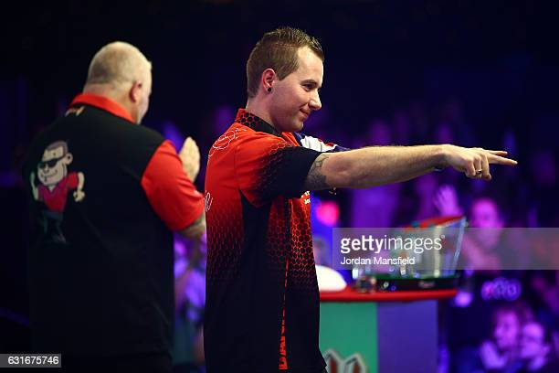 Danny Noppert of the Netherlands celebrates victory in his semifinal match against Darryl Fitton of England on Day Eight of the BDO Lakeside World...