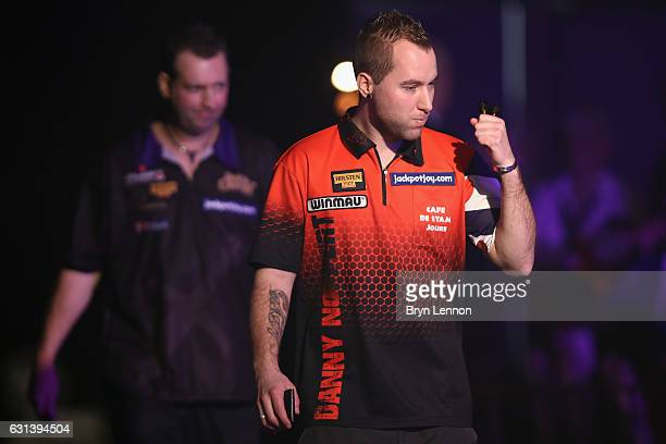 Danny Noppert of The Netherlands walks on for his first round match against David Cameron on day four of the BDO Lakeside World Professional Darts...