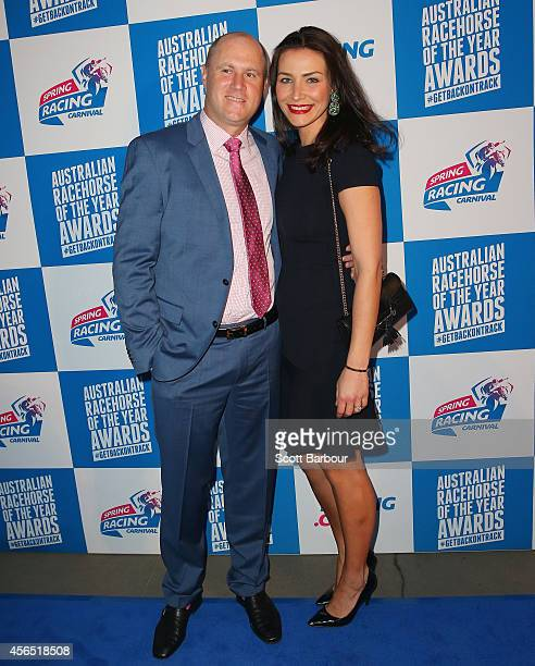 Danny O'Brien and Nina O'Brien attend the Melbourne Spring Racing Carnival Launch at the Melbourne Museum on October 2 2014 in Melbourne Australia
