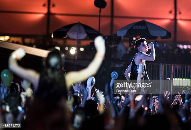 Danny O'Donoghue from The Script performs at 2015 Rock in Rio on September 18 2015 in Rio de Janeiro Brazil