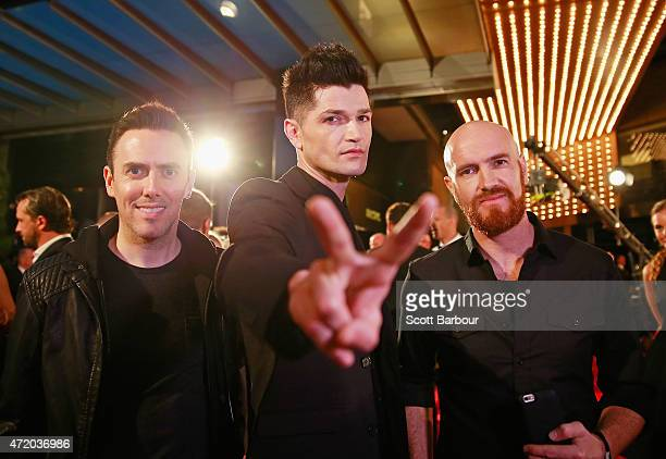 Danny O'Donoghue Mark Sheehan and Glen Power from The Script arrive at the 57th Annual Logie Awards at Crown Palladium on May 3 2015 in Melbourne...