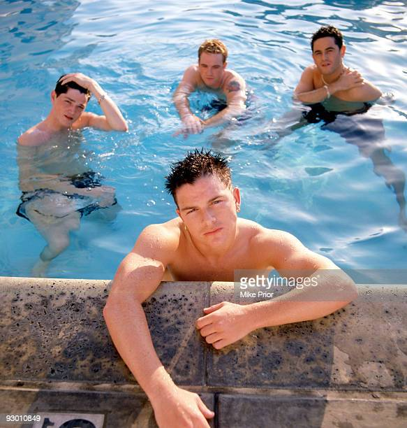 Danny O'Donoghue Mark Sheehan Paul Walker and Terry Daly of boyband MyTown pose for a group portrait in a swimming pool in 1999 in London O'Donoghue...