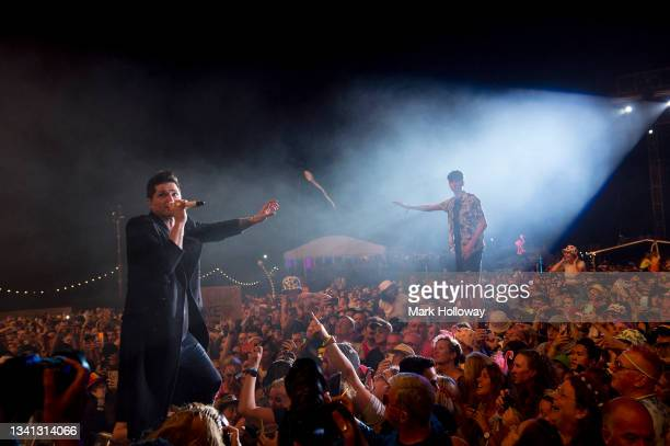 Danny O'Donoghue of the Script performing during Isle Of Wight Festival 2021 at Seaclose Park on September 19, 2021 in Newport, Isle of Wight.