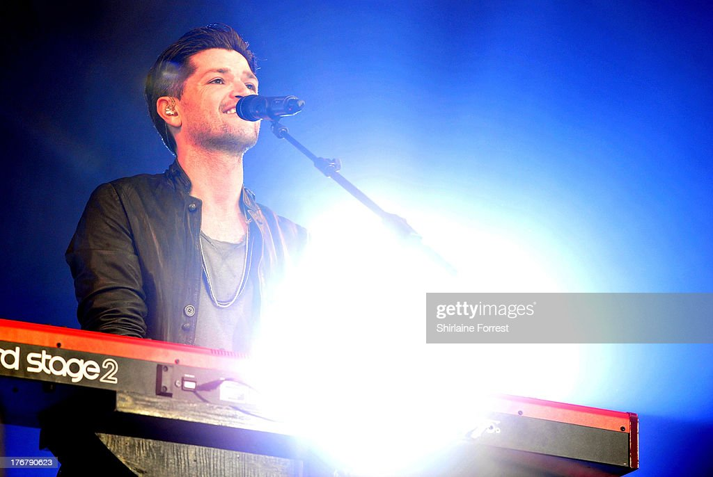 Danny O'Donoghue of The Script performs on day 2 of the V Festival at Weston Park on August 18, 2013 in Stafford, England.