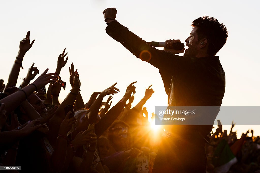 Danny O'Donoghue of The Script performs on Day 2 of the V Festival at Hylands Park on August 23, 2015 in Chelmsford, England.