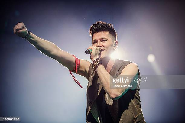 Danny O'Donoghue of The Script performs on stage at The SSE Hydro on February 20 2015 in Glasgow United Kingdom
