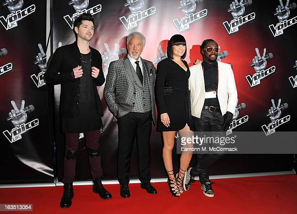 Danny O'Donoghue Sir Tom Jones Jessie J and William attend a photocall to launch the second series of The Voice at Soho Hotel on March 11 2013 in...