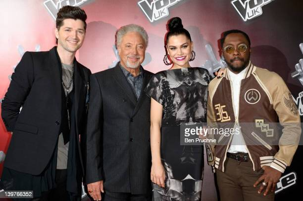 Danny O'Donoghue Tom Jones Jessie J and WillIAm attends The Voices photocall at Soho Hotel on February 24 2012 in London England