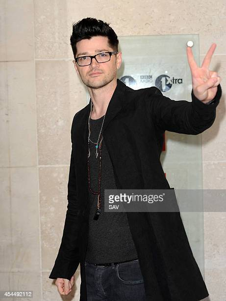 Danny O'Donohue from the band The Script pictured arriving at Radio 1 where he was greeted by fans on September 2 2014 in London England