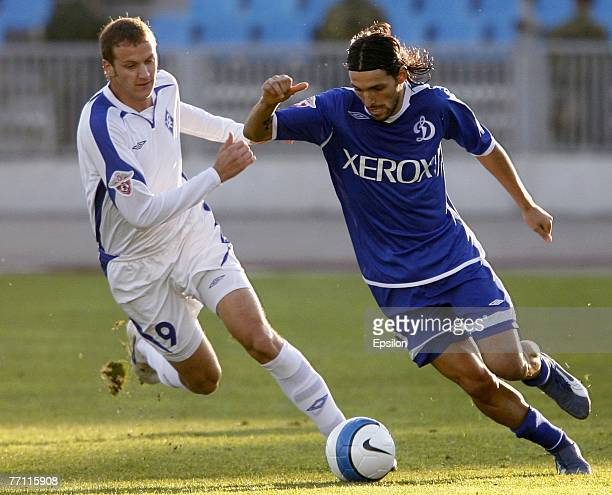 Danny of FC Dynamo Moscow competes for the ball with Denis Kovba of FC Krylya Sovetov Samara during the Russian Football League Championship match...
