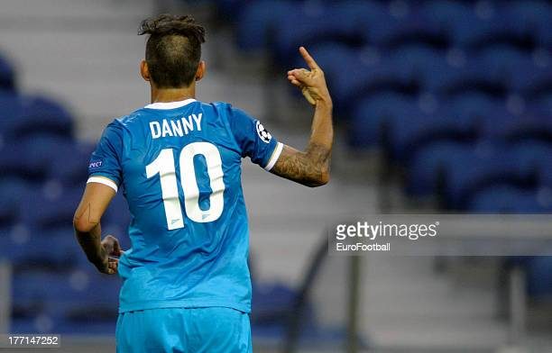 Danny of FC Zenit St Petersburg celebrates a goal during the UEFA Champions League playoff first leg match between FC Pacos de Ferreira and FC Zenit...