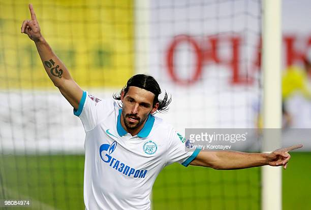 Danny of FC Zenit St Petersburg celebrates after scoring a goal during the Russian Football League Championship match between FC Dinamo Moscow and FC...