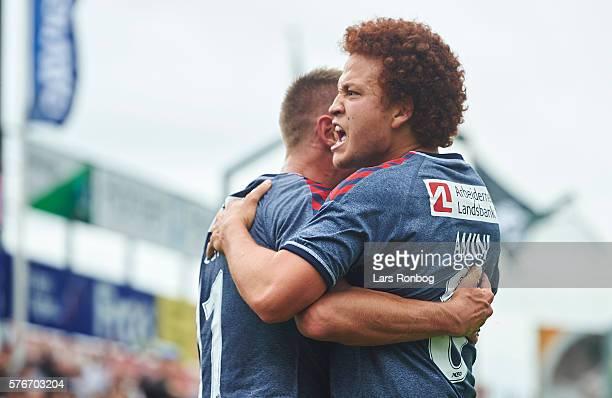 Danny Olsen and Mustafa Amini of AGF Aarhus celebrate after the Danish Alka Superliga match between Sonderjyske and AGF Aarhus at Sydbank Park on...