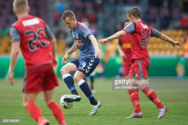 Danny Olsen of AGF Arhus controls the ball during the Danish Alka Superliga match between FC Nordsjalland and AGF Arhus at Right to Dream Park on May...