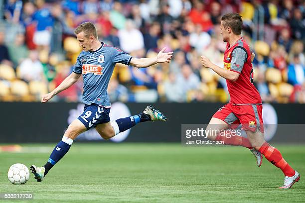 Danny Olsen of AGF Arhus in action during the Danish Alka Superliga match between FC Nordsjalland and AGF Arhus at Right to Dream Park on May 21 2016...