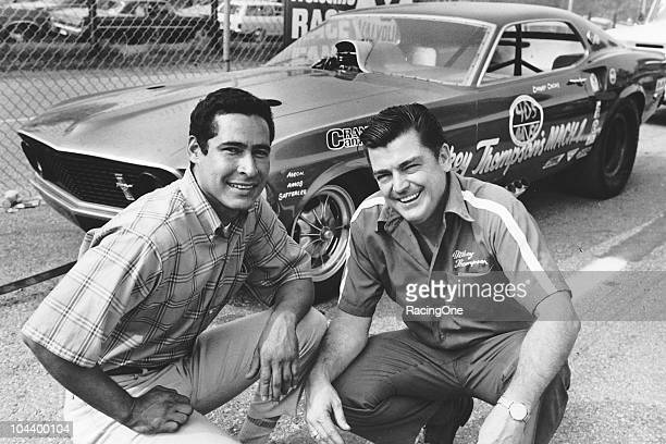 Danny Ongais and Mickey Thompson pose with ThompsonÕs Mach 1 Mustang NHRA Funny Car Ongais drove for Thompson and was a champion drag racer before...
