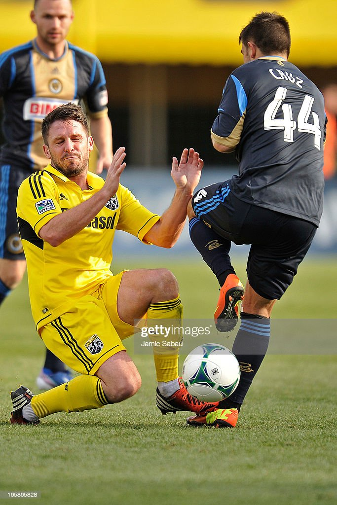 Danny O'Rourke #5 of the Columbus Crew and Danny Cruz #44 of the Philadelphia Union collide while battling for the ball in the second half on April 6, 2013 at Crew Stadium in Columbus, Ohio. Columbus and Philadelphia played to a 1-1 tie.
