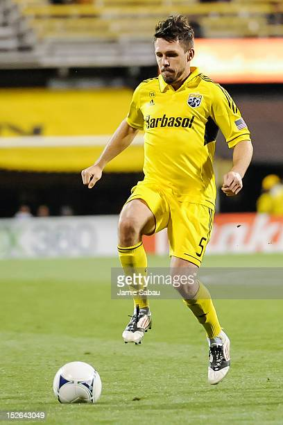 Danny O'Rourke of the Columbus Crew controls the ball against Chivas USA on September 19 2012 at Crew Stadium in Columbus Ohio