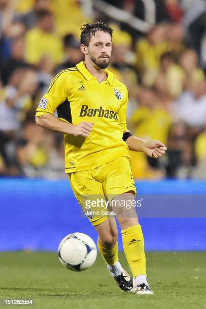 Danny O'Rourke of the Columbus Crew controls the ball against the Montreal Impact on September 1 2012 at Crew Stadium in Columbus Ohio