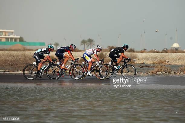 Danny Pate of the USA and Team SKY leads the breakaway group of Jef Van Meirhaeghe of Belgium and Topsport Vlaanderen-Baloise, Matthias Brandle of...
