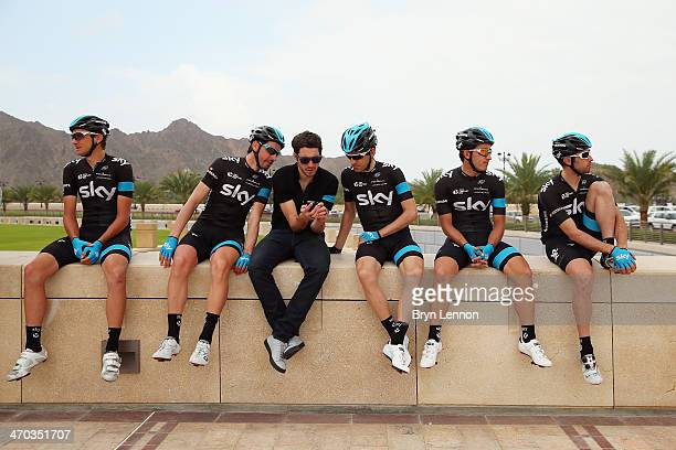 Danny Pate of the USA David Lopez Garcia of Spain Nicolas Portal of France Mikel Nieve of Spain and Sergio Henao of Colombia and Dario Cataldo fo...
