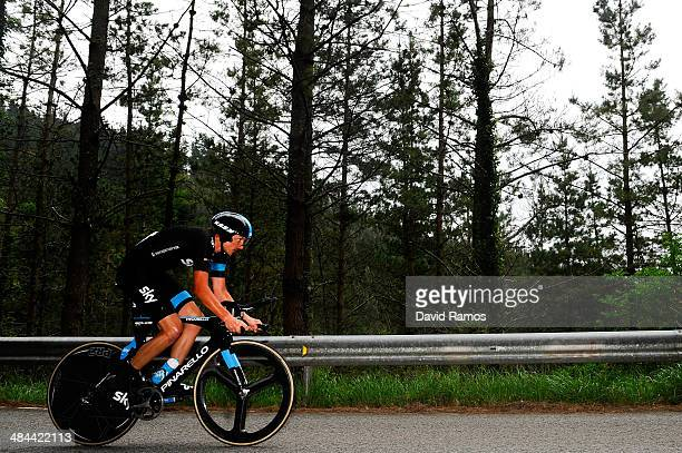 Danny Pate of Unites States of Spain and Team Sky in action during Stage Six of Vuelta al Pais Vasco on April 12 2014 in Markina Spain