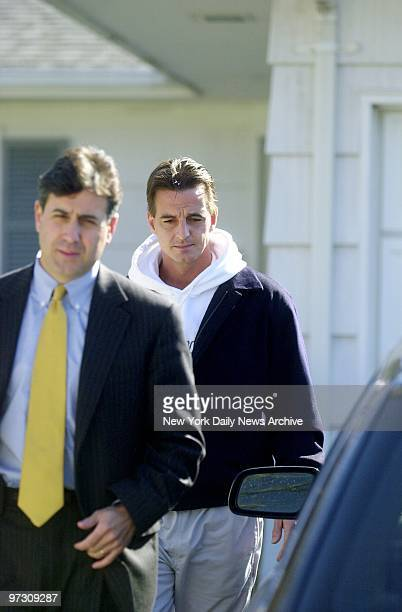Danny Pelosi leaves his Center Moriches LI home with his lawyer Edward Burke Pelosi is the prime suspect in the murder of Ted Ammon in the...