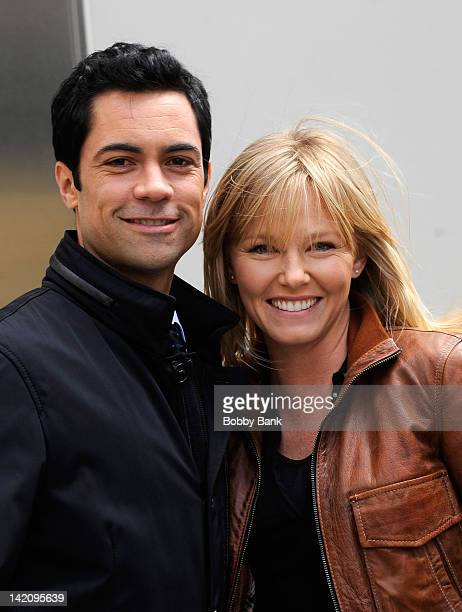Danny Pino and Kelli Giddish filming on location for 'Law and Order SVU' on March 29 2012 in New York City
