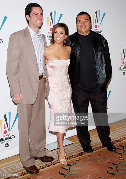Danny Pino Eva Longoria and Carlos Mencia during 2006 NCLR ALMA Award Nominations Announced at The Peninsula Hotel in Hollywood California United...