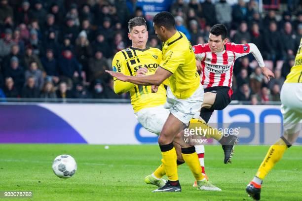 Danny Post of VVV Venlo Roel Janssen of VVV Venlo Hirving Lozano of PSV during the Dutch Eredivisie match between PSV Eindhoven and VVV Venlo at the...
