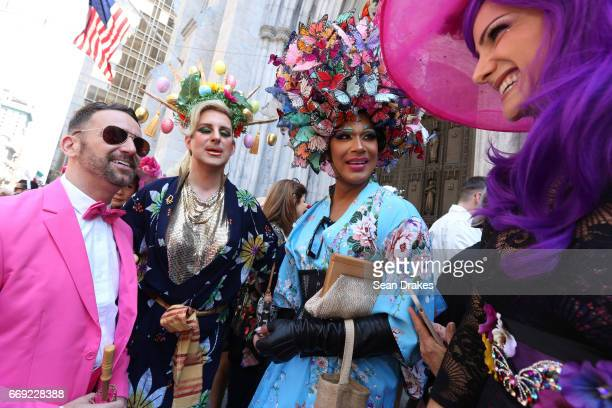 Danny Putnam Kyle Goodwin Carrie Blackshaw and Samara Dunn take part in the Easter Parade on Fifth Avenue at St Patrick's Cathedral on April 16 2017...
