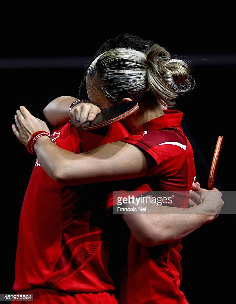 Danny Reed and Kelly Sibley of England celebrates after winning the Mixed Doubles Quarter Final match at Scotstoun Sports Campus during day eight of...