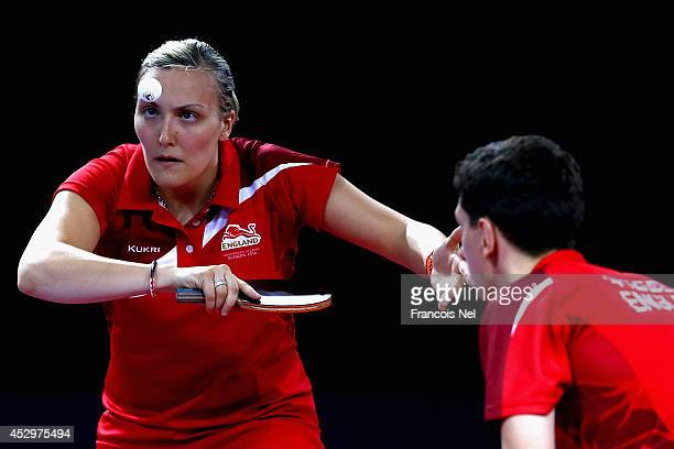 Danny Reed and Kelly Sibley of England competes during the Mixed Doubles Quarter Final match at Scotstoun Sports Campus during day eight of the...