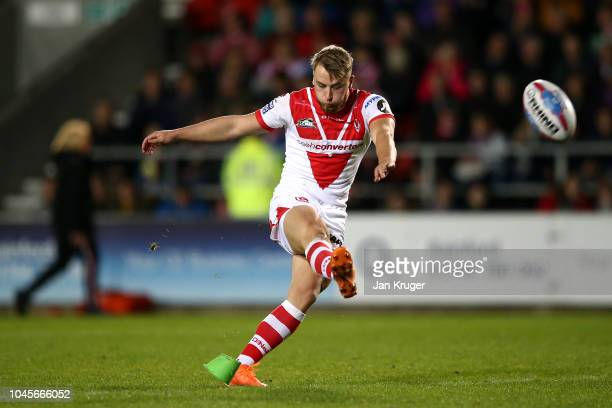 Danny Richardson of St Helens converts the opening try during the BetFred Super League semi final match between St Helens and Warrington Wolves at...