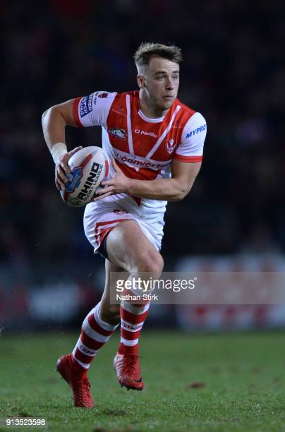 Danny Richardson of St Helens in action during the Betfred Super League match between St Helens and Castleford Tigers at Langtree Park on February 2...