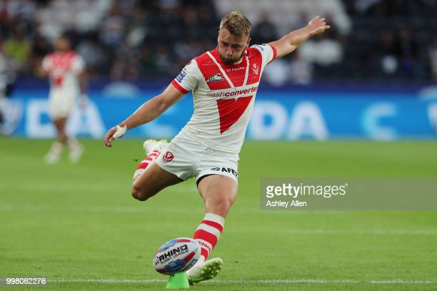 Danny Richardson of St Helens kicks a conversion during the BetFred Super League match between Hull FC and St Helens Saints at the KCOM Stadium on...